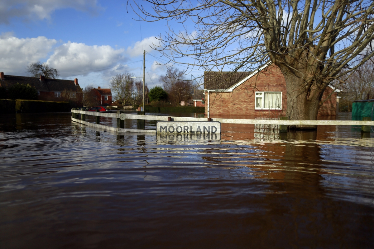 Flooded english village moorland