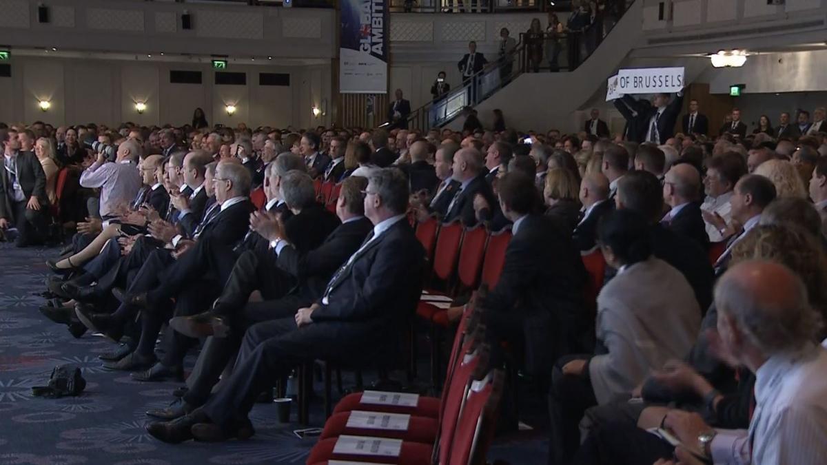 Protesters interrupt prime minister's pro-EU speech at CBI