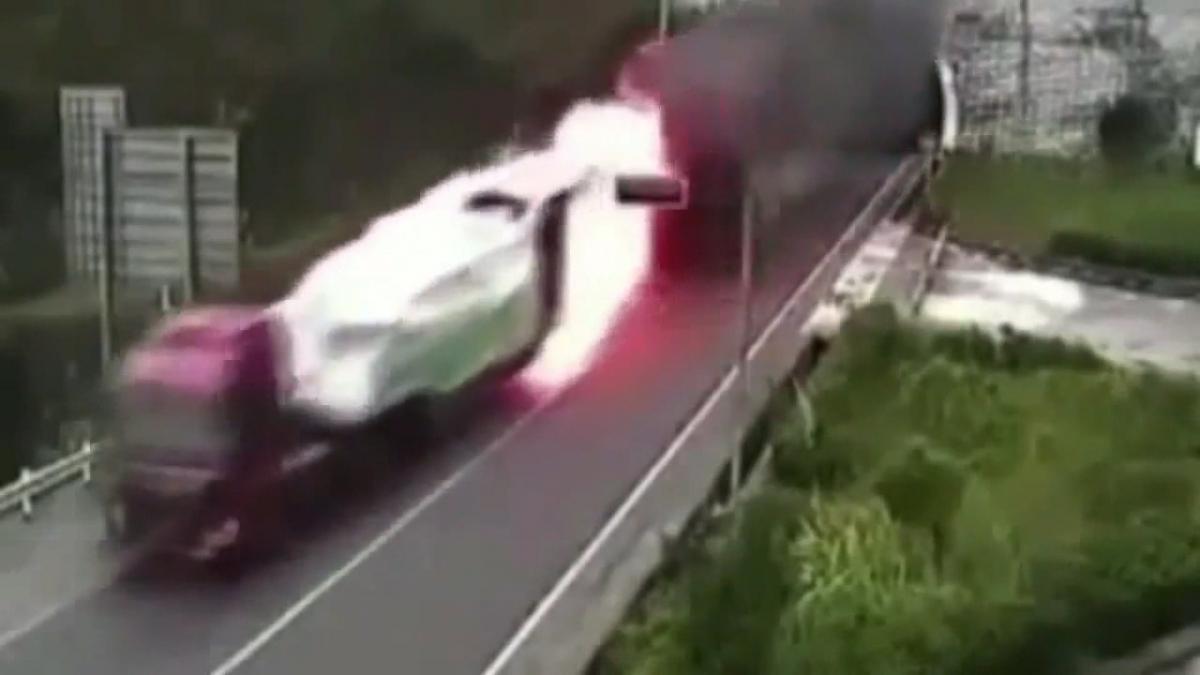 Burning lorry in China