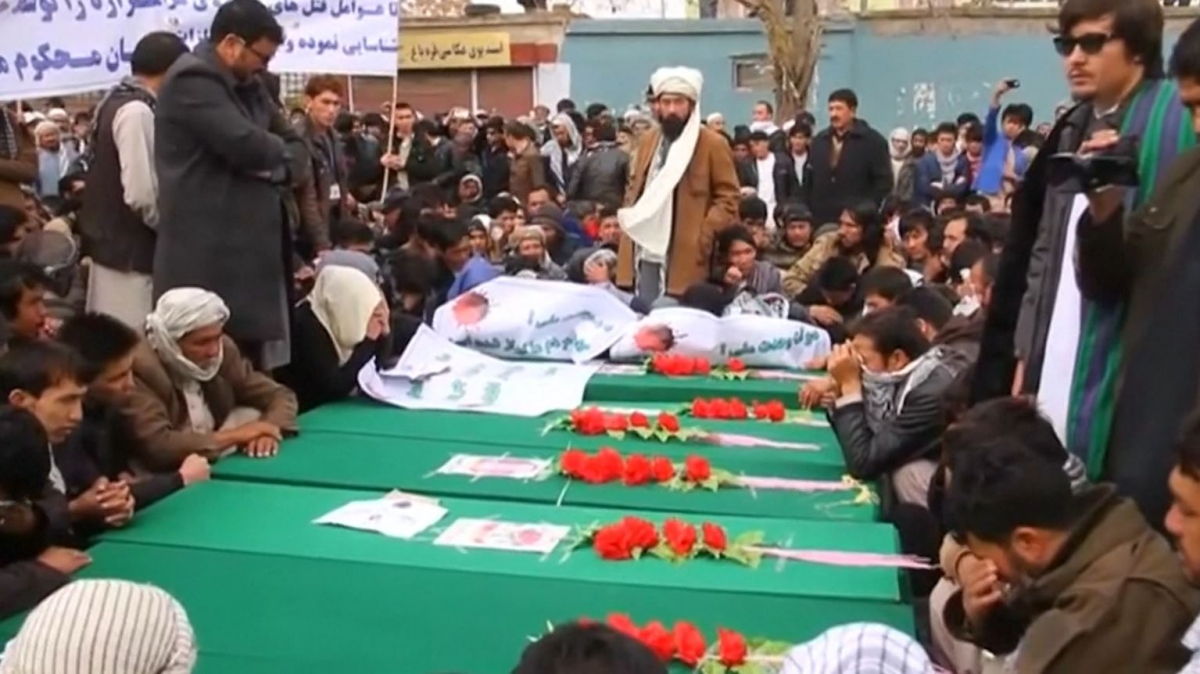 Protesters carried the coffins of the dead