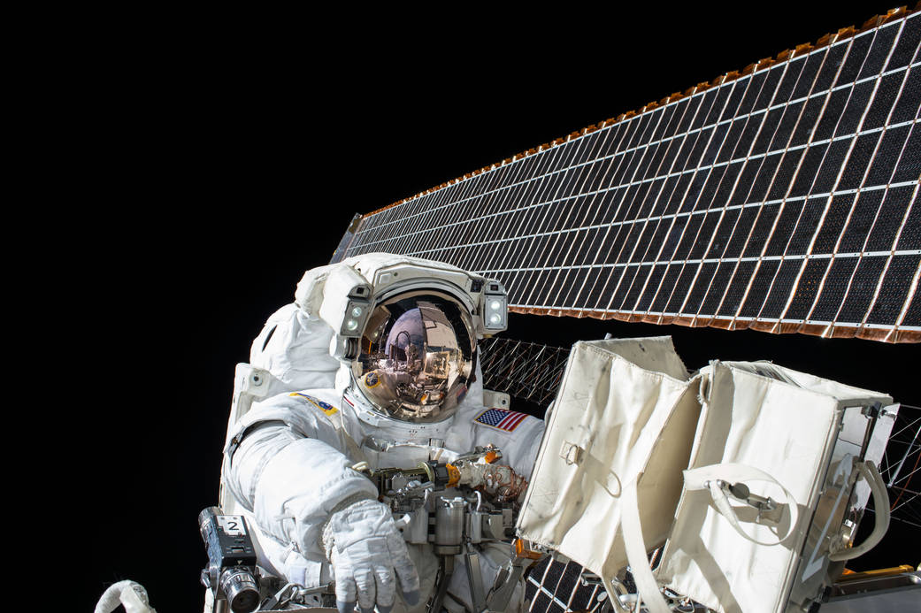 Nasa astronaut Scott Kelly working outside the International Space Station