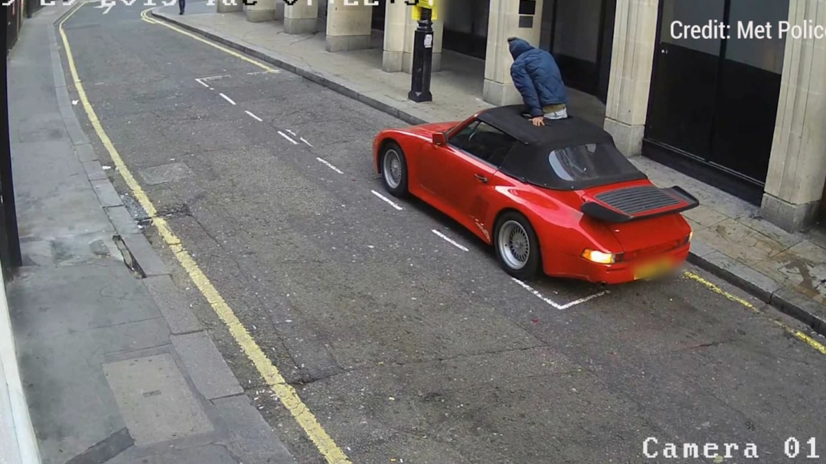Video shows man carving hole in Porsche