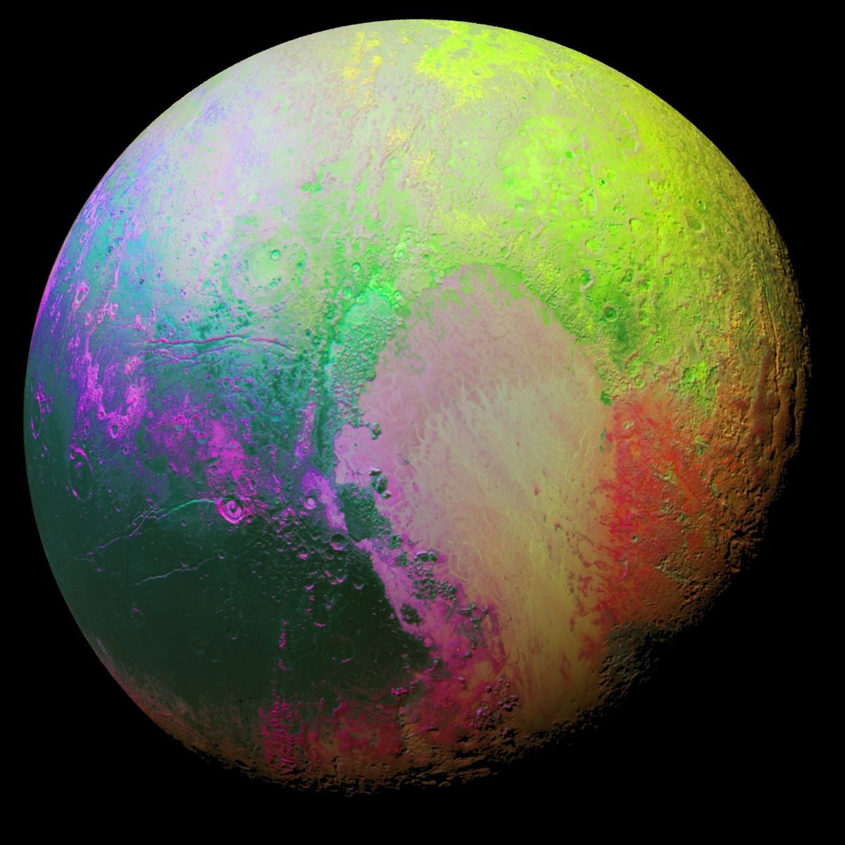 False colour Pluto