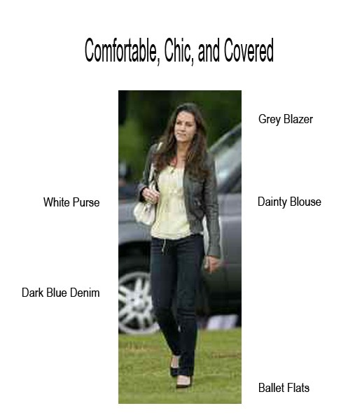Kate Middleton in an olive waterproof blazer, a pastel-colored top and dark denim jeans.