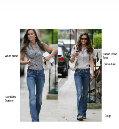 Kate Middleton in denim low-riders and button down-blouse.