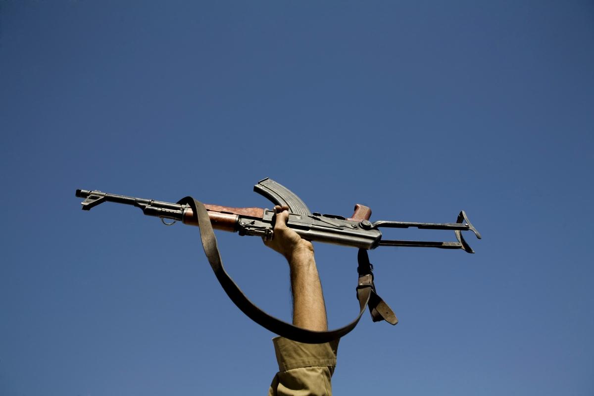Kalashnikov AK-47 held in air