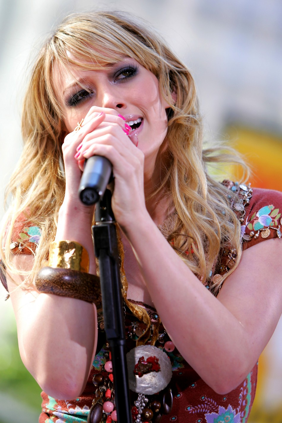 """US actress and singer Hilary Duff performs at NBC's """"Today"""" show in New York."""