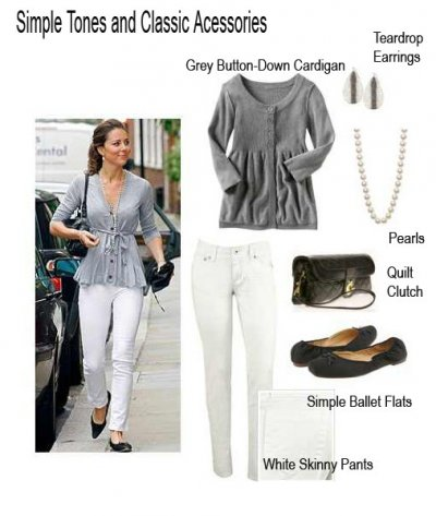 Kate Middleton in a grey cardigan, white pants, ballet flats and a white purse