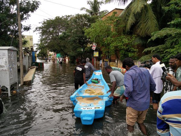 Rescue boats in Chennai