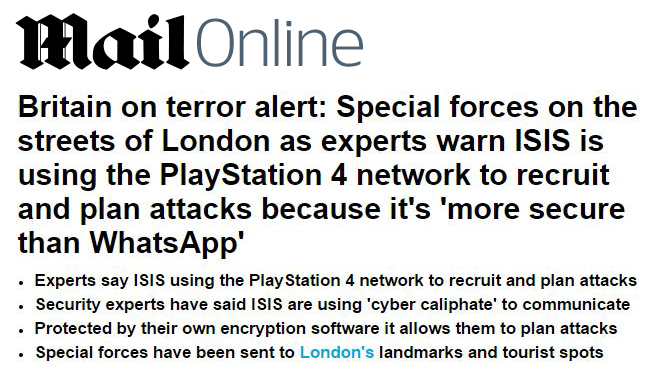 Daily Mail Online PS4 ISIS
