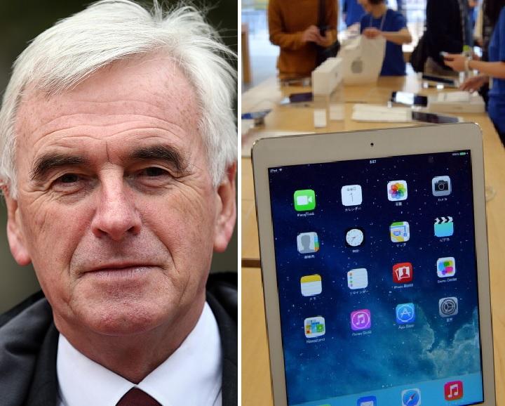 John McDonnell and an iPad