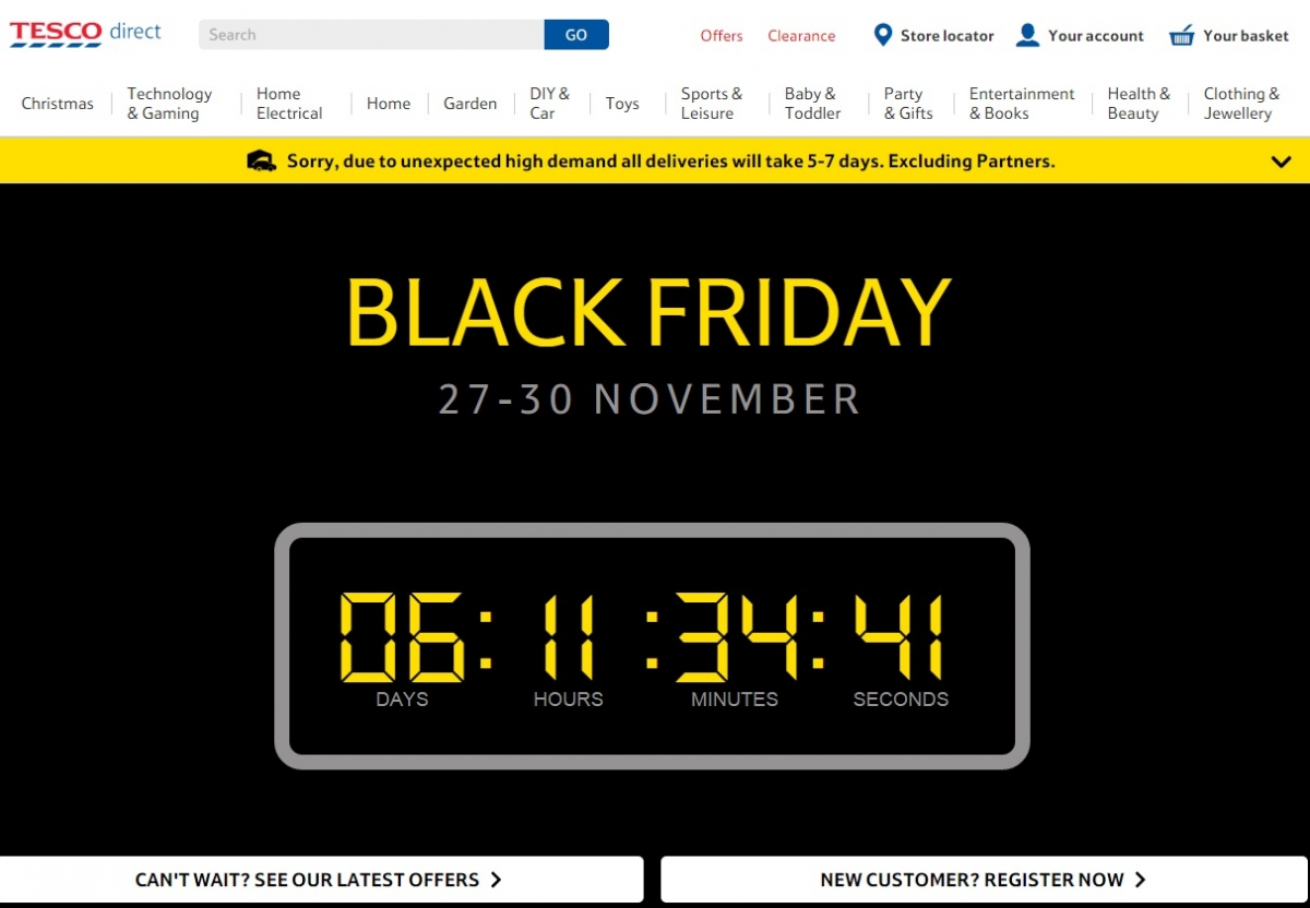 Tesco Black Friday website