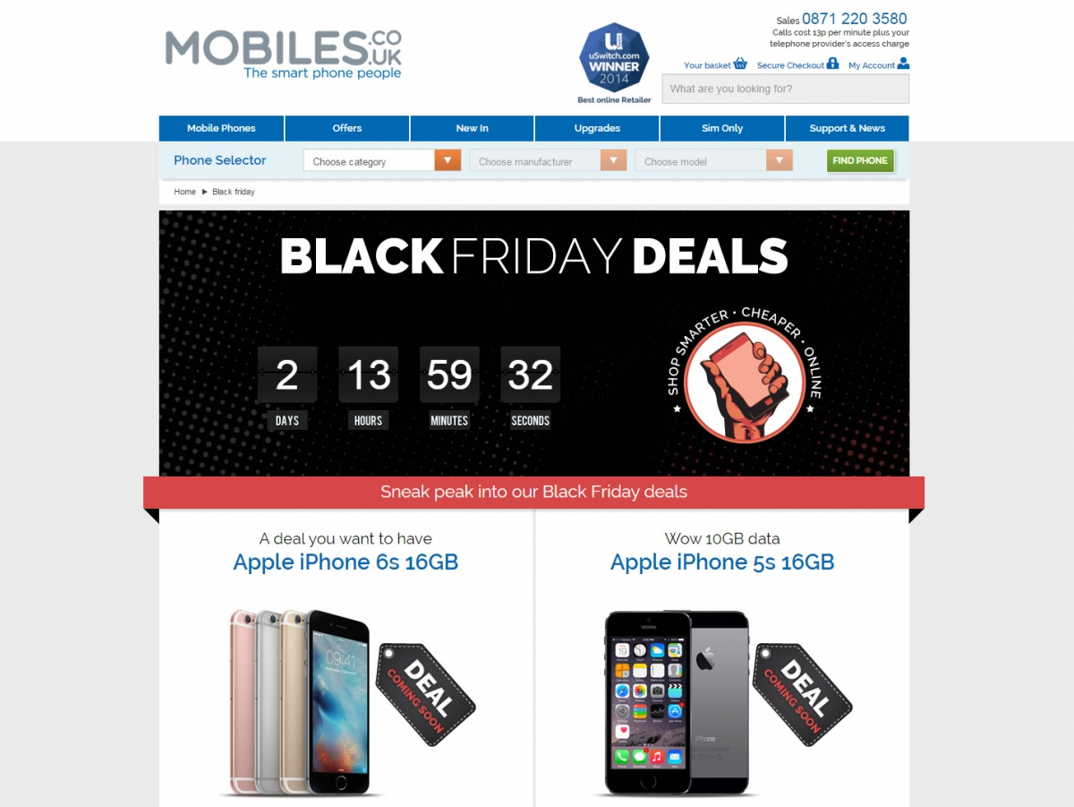 Mobiles UK Black Friday 2015 landing page