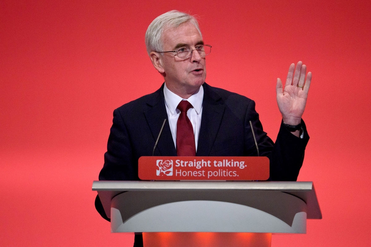 Shadow chancellor John McDonnell MP