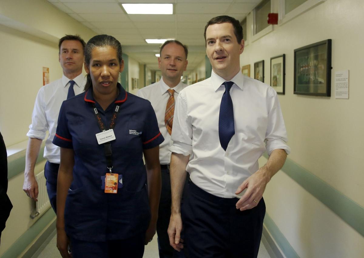 George Osborne visiting a hospital