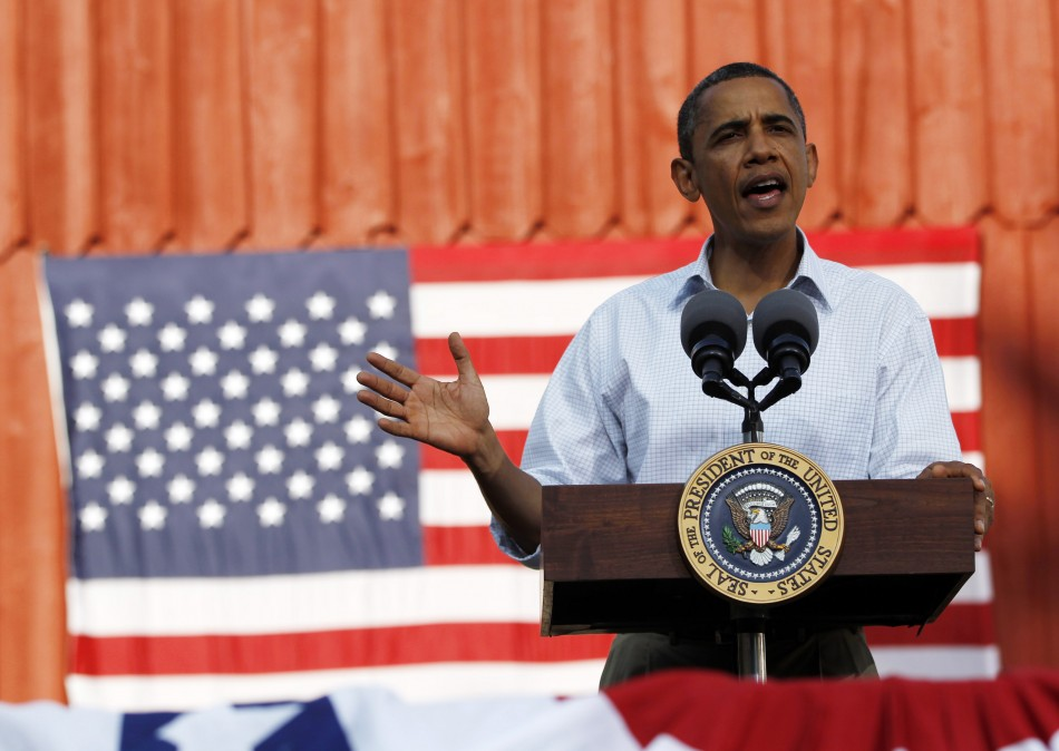 U.S. President Obama speaks during a town hall-style event in Decorah