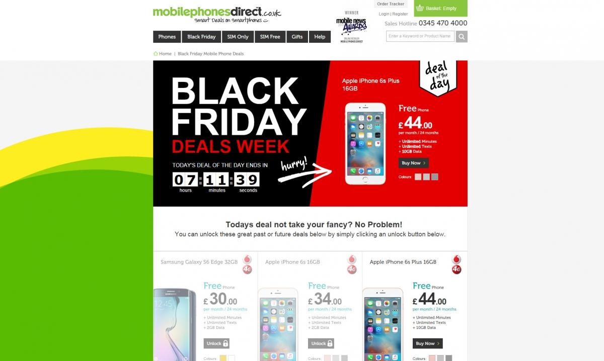 Mobile Phones Direct Black Friday UK deals