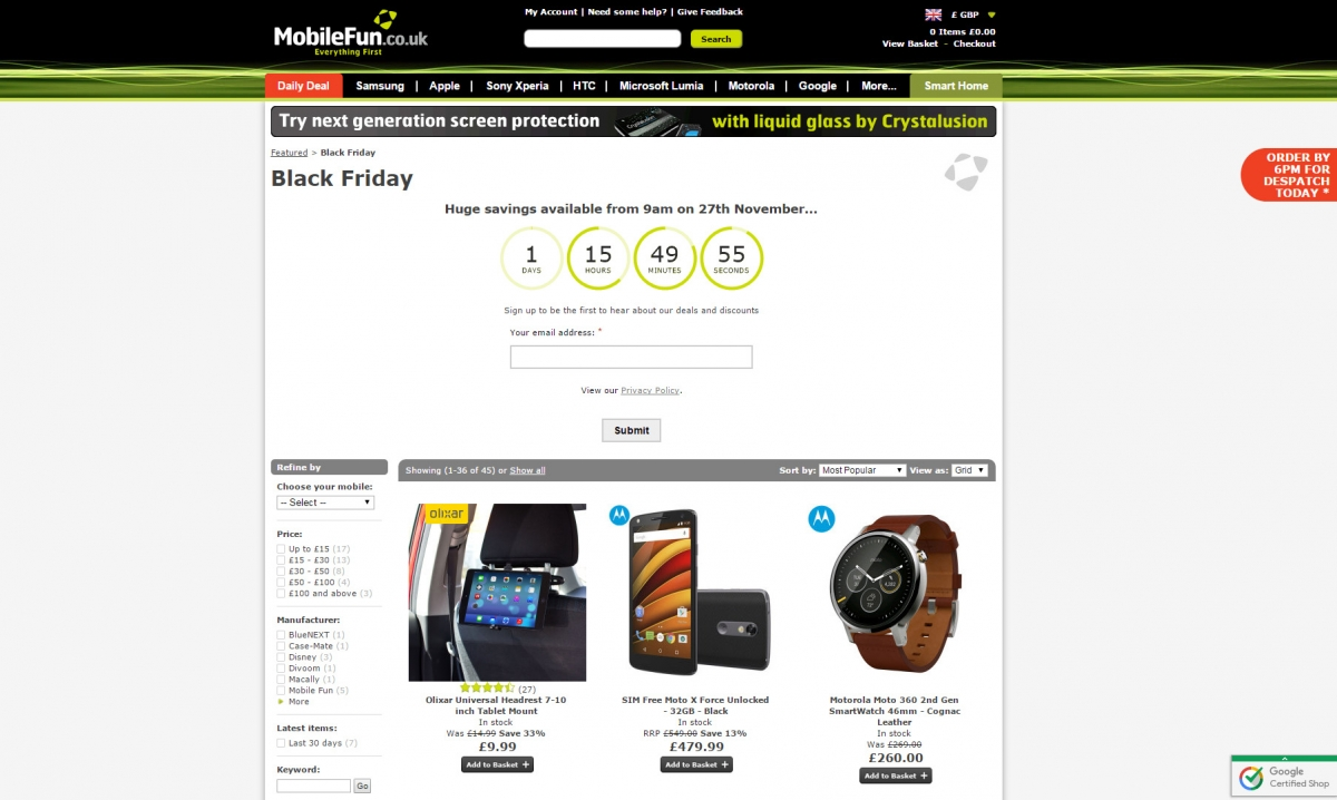 MobileFun Black Friday 2015 deals