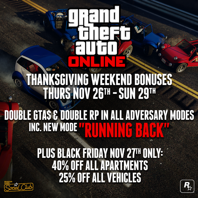 GTA Online Thanksgiving weekend specials