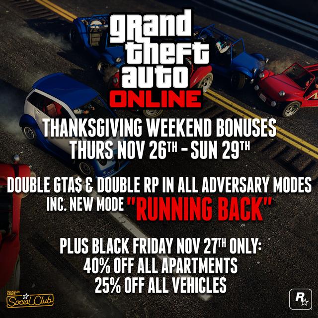 GTA Online Thanksgiving weekend specials