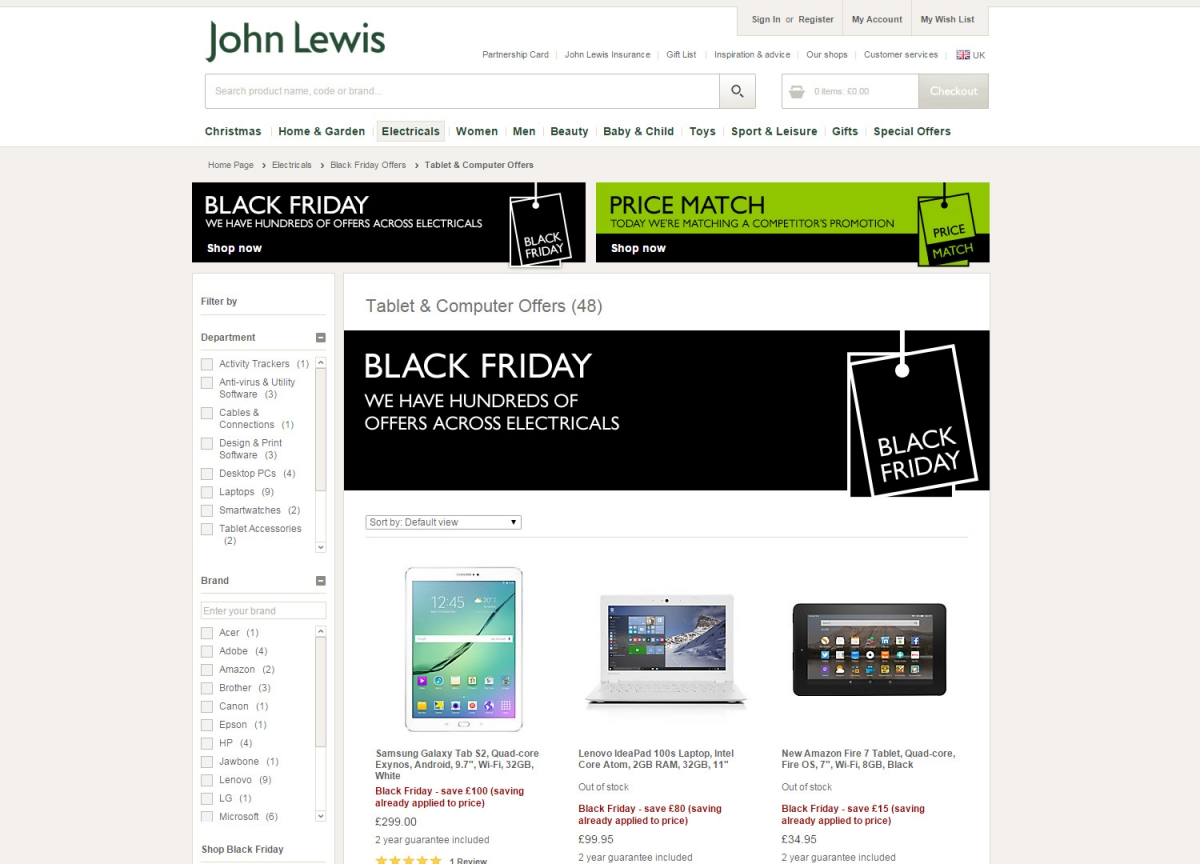 John Lewis Black Friday 2015 deals