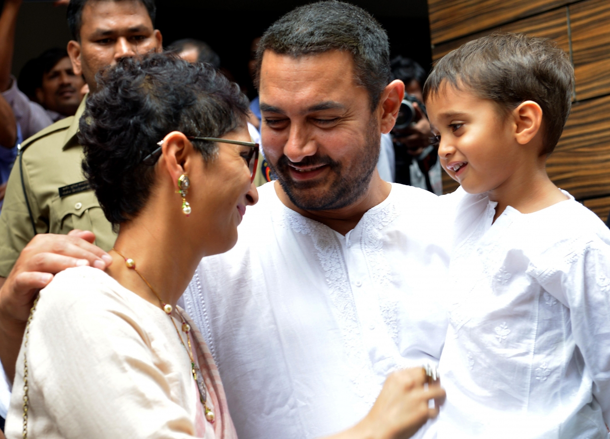 Bollywood actor Aamir Khan and family