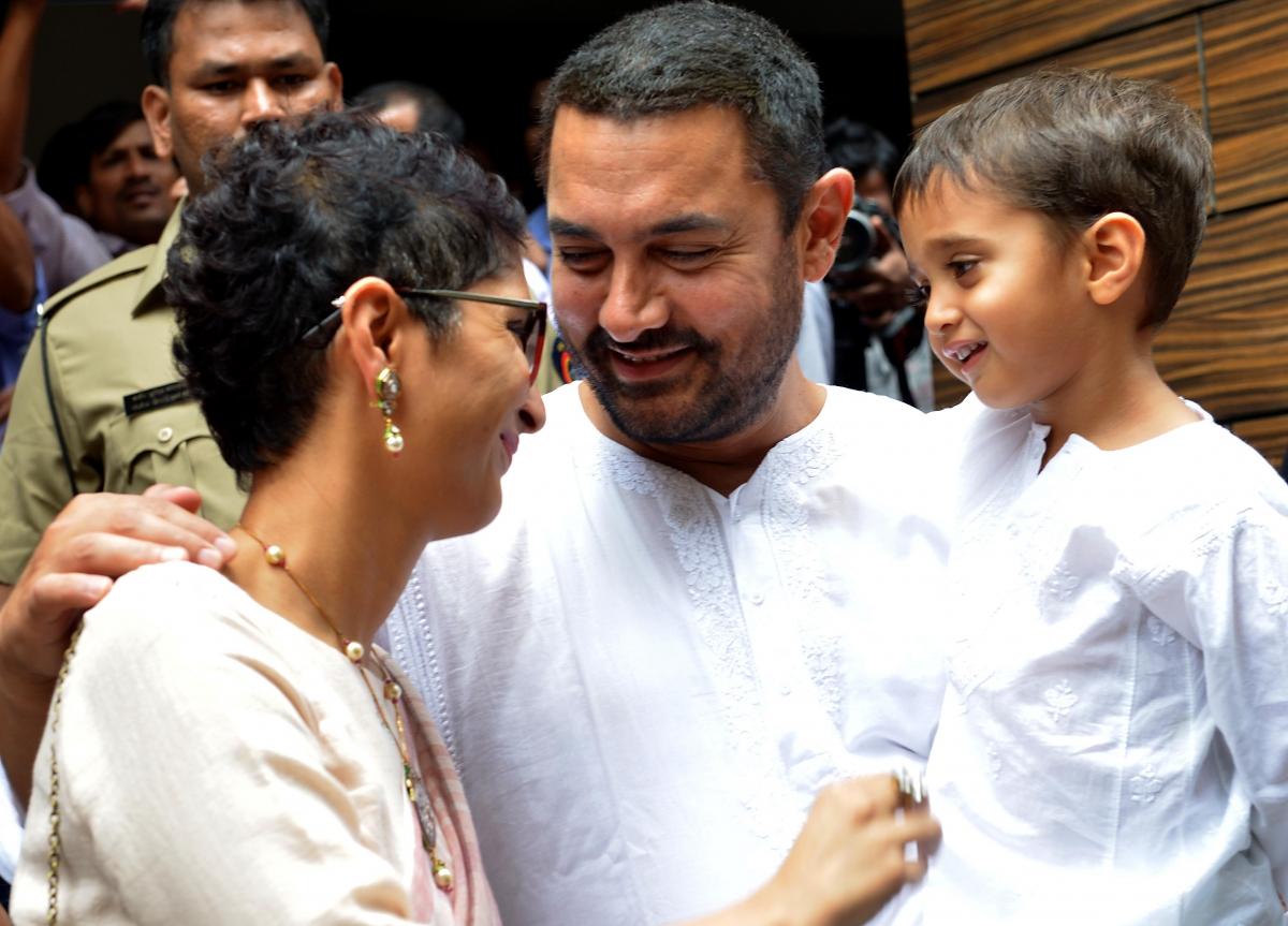 Bollywood actor Aamir Khan and family