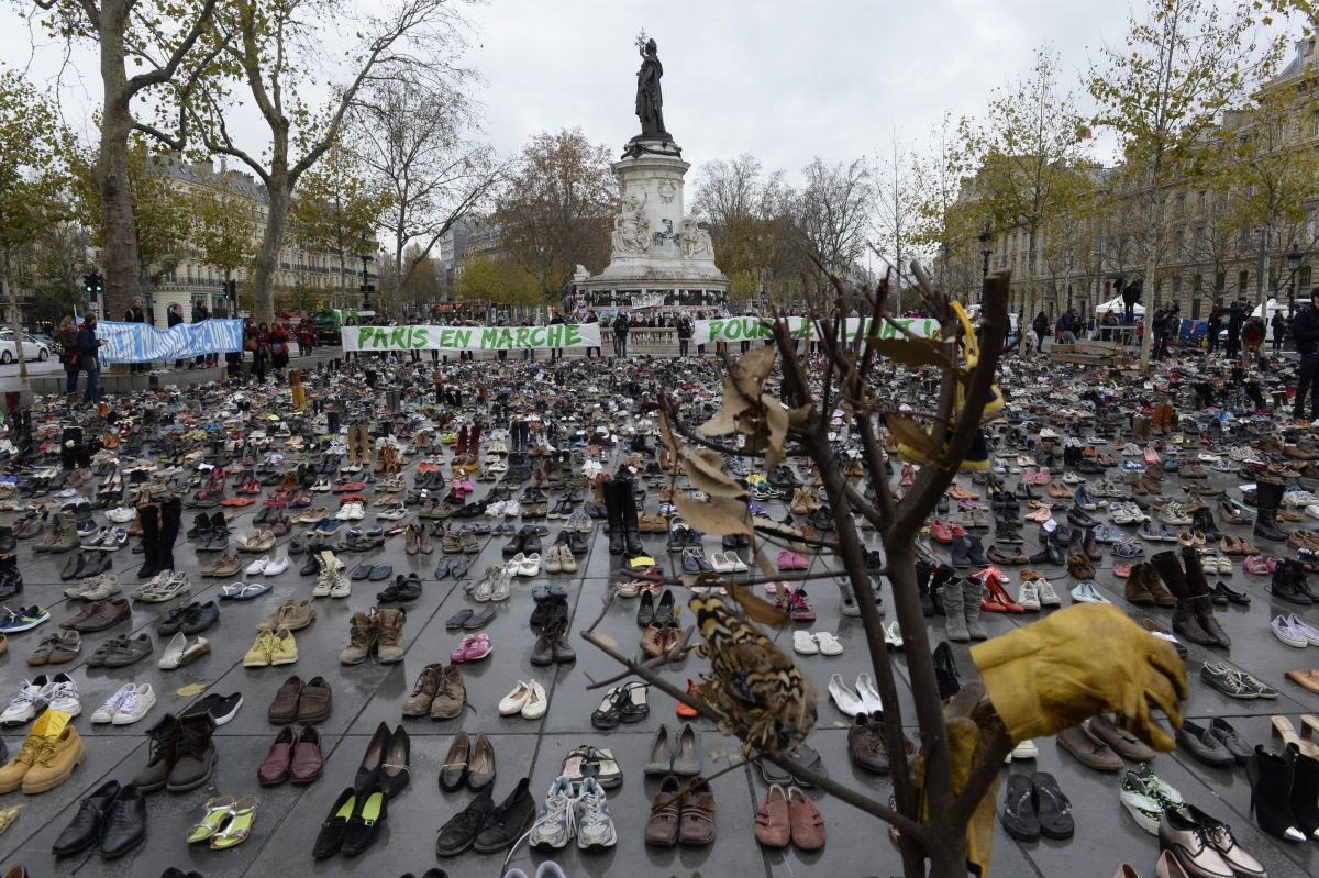 Shoe display replaces climate march in Paris