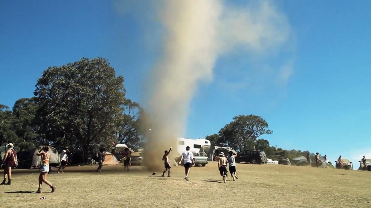 Crowd dance with tornado