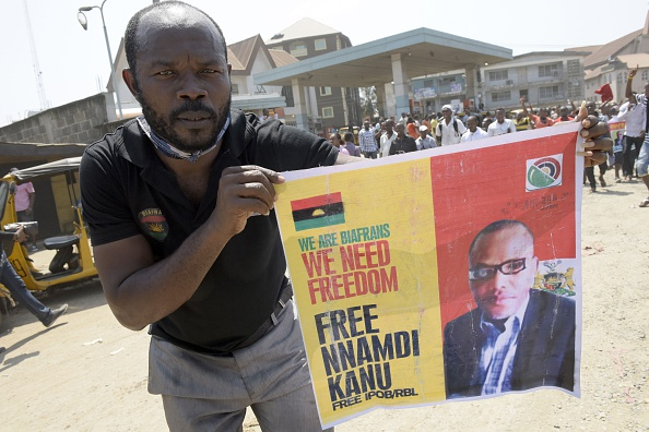 Pro-Biafrans protest for Nnamdi Kanu release