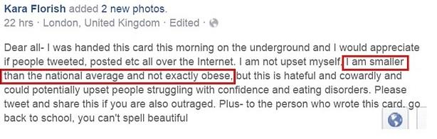 Fat shaming Facebook post