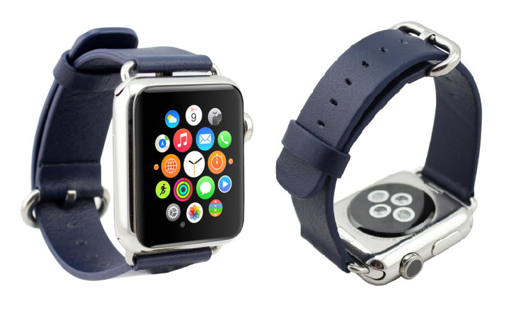 Apple Watch leather strap blue