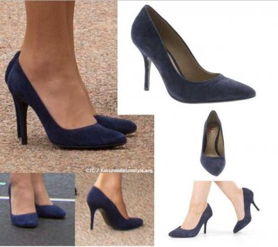 Kate Middletons Navy Suede Pumps  Source Katemiddletonstyle.org