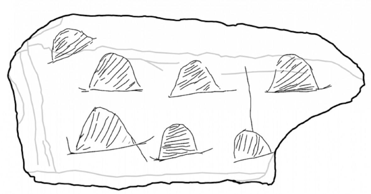 hunter-gatherer campsite engraving