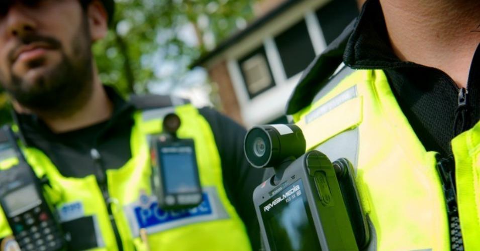 West Midlands Police wearing body cameras