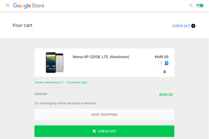 Nexus 6P 32GB and 128GB models back in stock in Europe