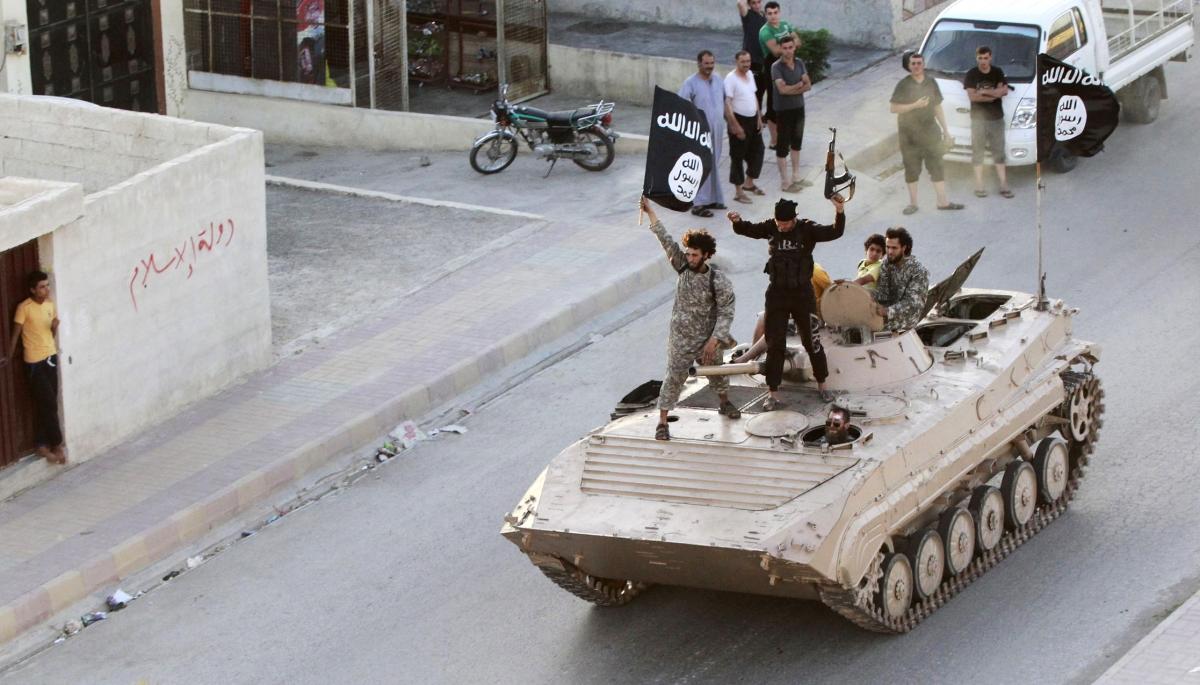 Militant Islamist fighters in Raqqa