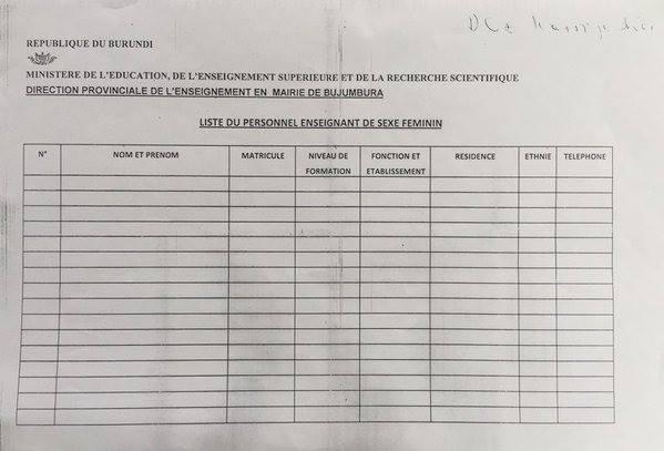 Burundi personal information sheet