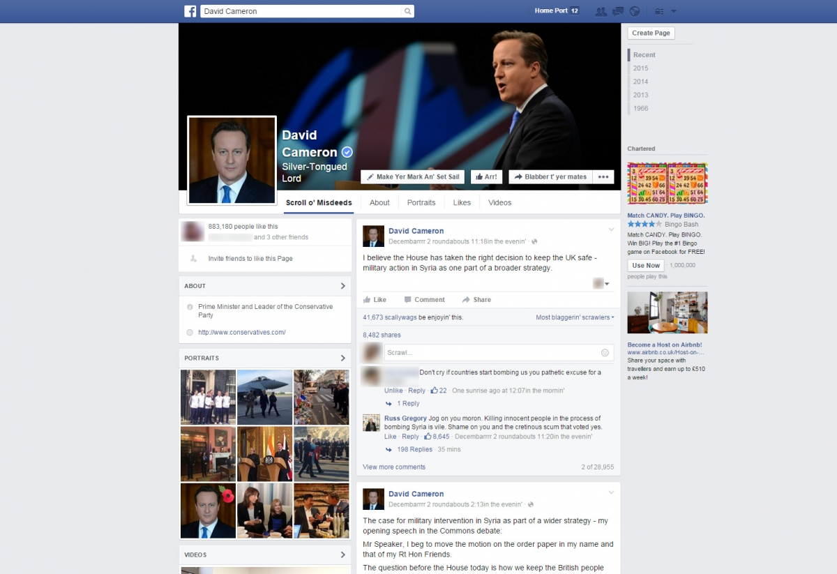David Cameron's official Facebook page