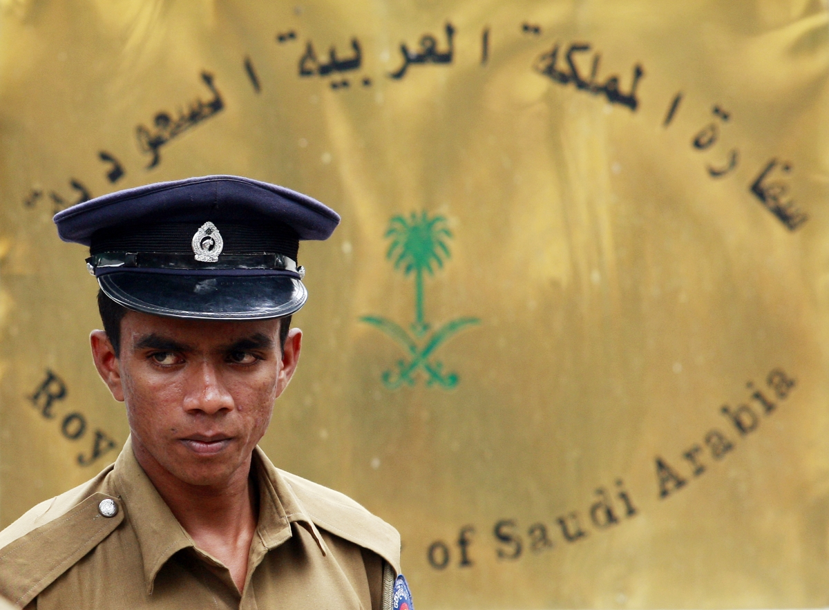 Sri Lankan police officer outside the Saudi