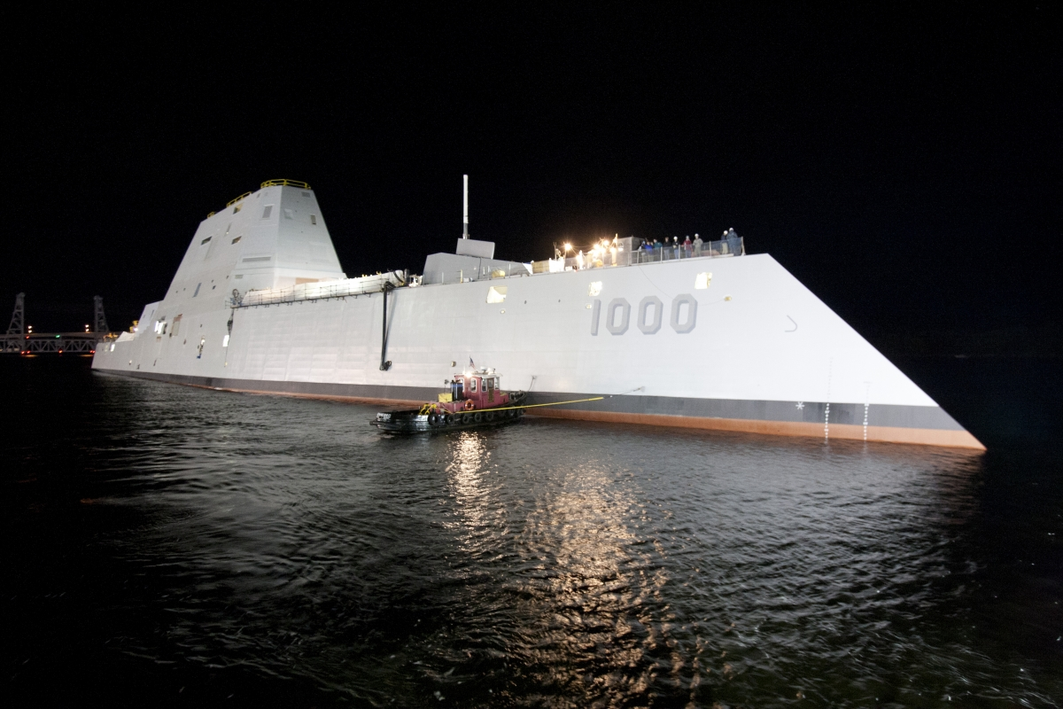 USS Zumwalt high tech stealth destroyer
