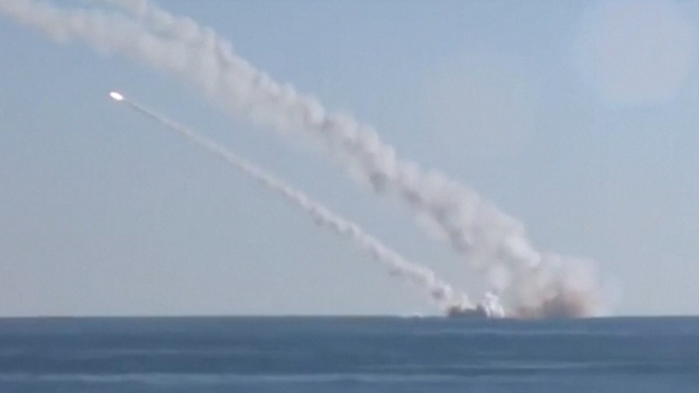 Russian sub launching missiles