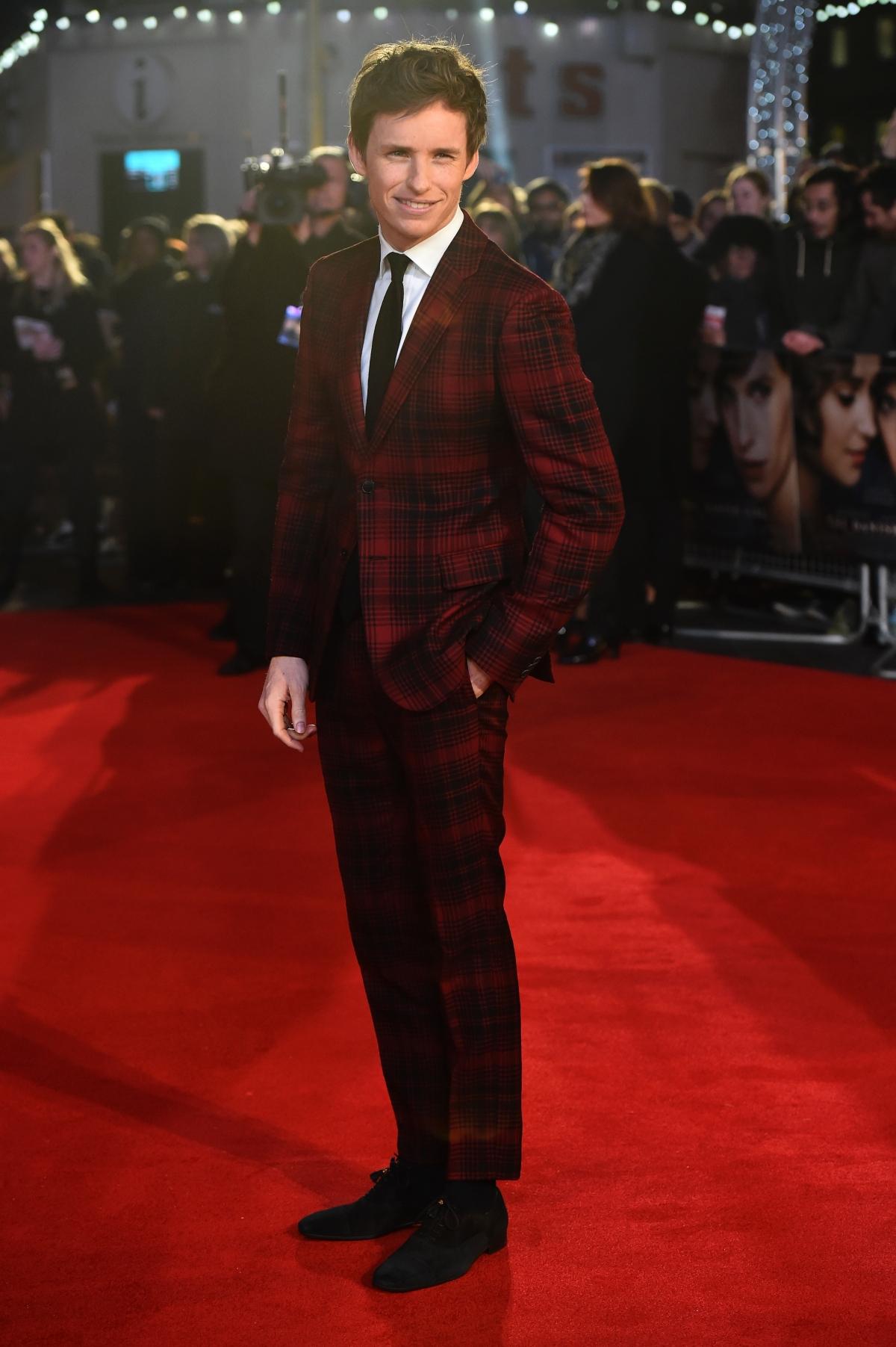 Eddie Redmayne wears tartan suit