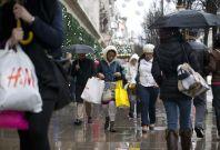 Christmas shopping in the rain