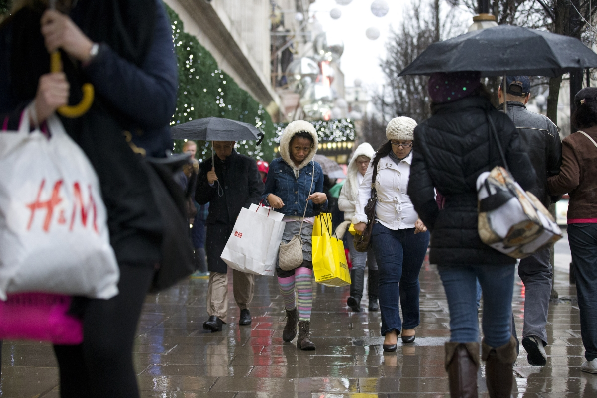 Christmas shopping in the rain