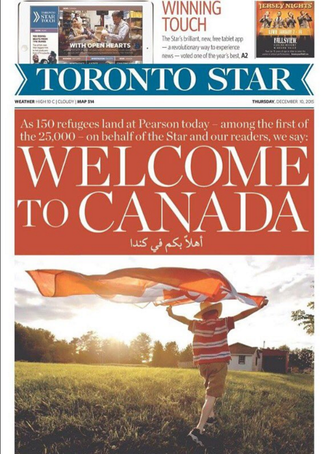 Toronto Star front page