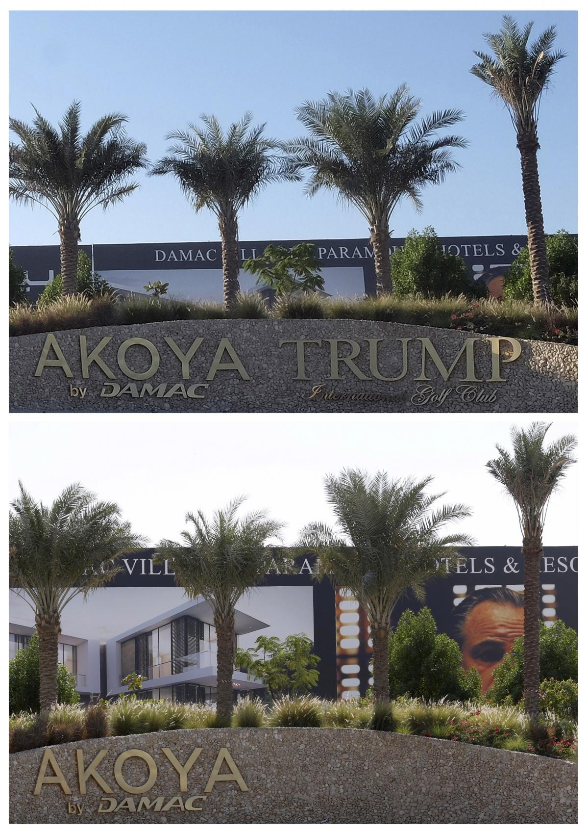 Trump signboard Dubai Damac