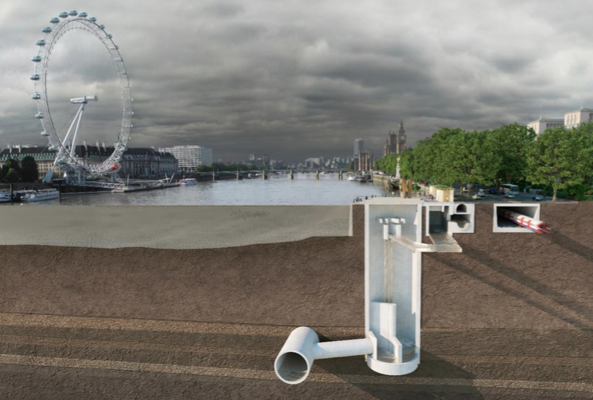 Cutaway of River Thames sewage plan