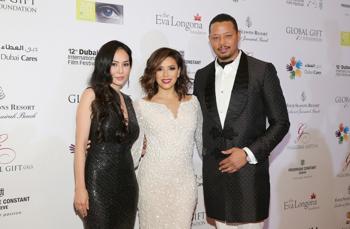 Miranda Howard, Eva Longoria and Terrence Howard