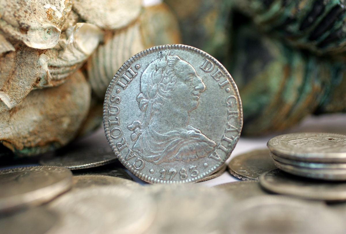 Silver coins salvaged from the wreck oftheCalazador